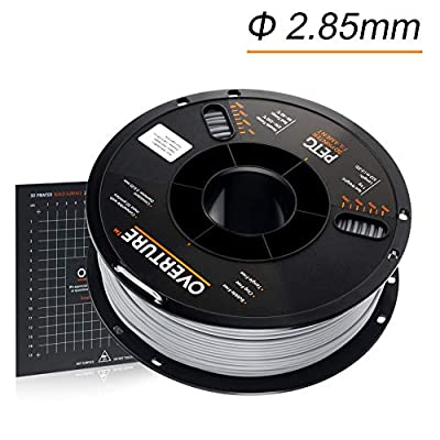 OVERTURE 2.85mm PETG Filament with 3D Build Surface 200mm × 200mm, 1kg Spool (2.2lbs), Dimensional Accuracy +/- 0.05 mm, 3D Printer Consumables Fit Most FDM Printer (Light Grey)