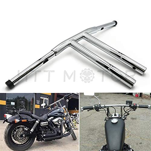 HTTMT HB017-II- Chrome 14 Inches Rise T-Bars Handlebar Drag Bar Compatible with Harley FLST FXST Sportster Dyna