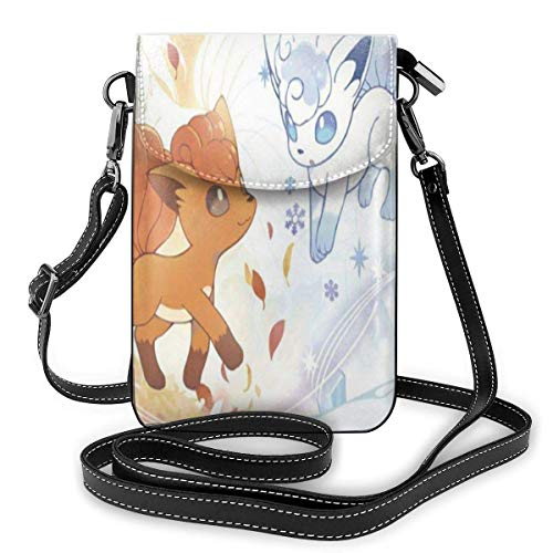 Vulpix Ice and Fir Lightweight Small Crossbody Bags Leather Cell Phone Purses Shoulder Bag Wallet with Credit Card Slots