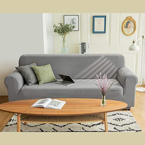 Funda Universal Universal de Cuatro Estaciones en Forma de U de Estilo Europeo, Funda de sofá Flexible con Todo Incluido, cojín de sofá Simple para el hogar, Gris Claro 230-300cm para Cuatro Personas