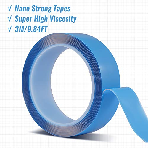Meidong Nano Magic Tape Double Sided Super High Viscosity Tape Roll 3M/9.84ft Versatile Transparent Tapes No Trace Not Washable Not Reusable (Width 3cm; Thickness 1mm)