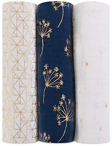 aden + anais maxi-langes, 100% mousseline de coton, 120cm x 120cm, pack de 4, metallic Gold Déco