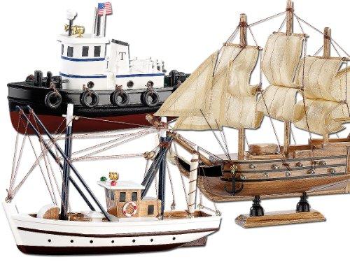 Playtastic Schiffsbausätze: 3er-Set Schiff-Bausätze Fischkutter, Flaggschiff & Schlepper, aus Holz (Schiffsmodelle)