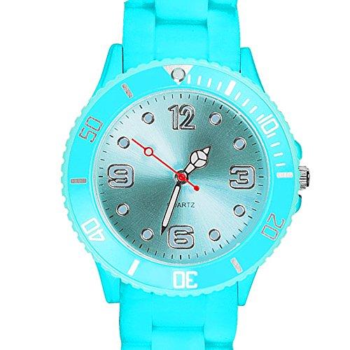 Taffstyle Farbige Sportuhr Armbanduhr Silikon Sport Watch Damen Herren Kinder Analog Quarz Uhr 39mm Himmelblau
