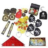 Furado Juego de Monedas de Oro Pirata,Monedas de Oro Juguete Pirata Niños,64...