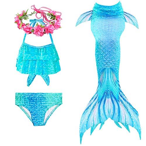 PaisDola Cola de Sirena niña para Nadar Incluido Traje de Sirena baño de Bikini de 3 Piezas y Diadema con guirnaldas de Flores (DH97RH,140)
