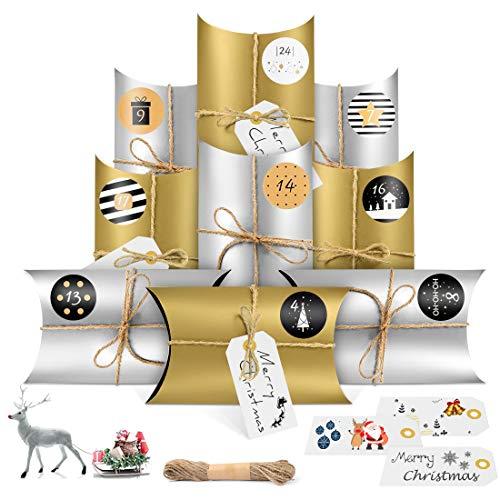 Adventskalender zum Befüllen, 24 Adventskalender Geschenkbox mit 24 Zahlenaufklebern, Weihnachtskalender Bastelset, Adventskalender Selber Basteln,Weihnachts-Geschenbox zum DIY (Gold Silber)