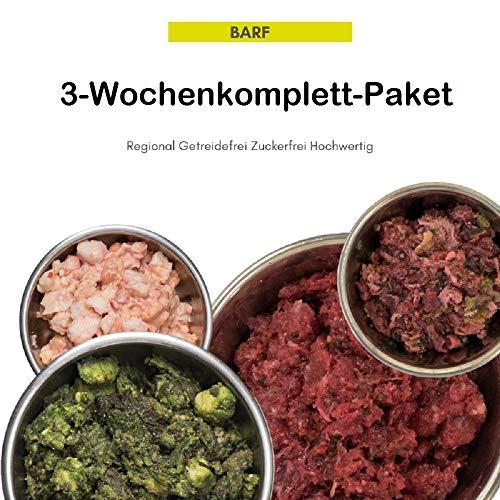 feed&meat Barf Fertigmenüs -3 Wochenpaket inklusive Obst, Gemüse und Ölen - 21 x 500g Komplettmixe und 1x Brustbeinknochen regional und frisch