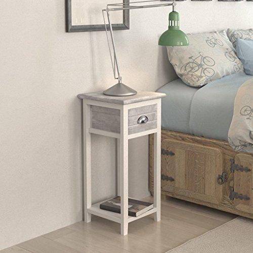 Vislone Mesita de Noche con 1 Cajone Cómoda de Noche Mesita de Noche para Teléfono Mueble de Dormitorio Gris y Blanco 30x30x63cm