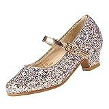EIGHT KM Niñas Tacones Bajos Mary Jane Vestido Formal Bombas Zapatos EKM7015 Brillo Brillante Champaña Luminosa Talla 31