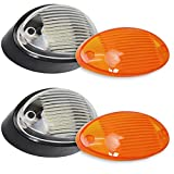 2 LED RV Exterior Porch Utility Light Oval 12v 300 Lumen Lighting Fixture Replacement Lighting for RVs, Trailers, Campers, 5th Wheels. Black Base, Clear and Amber Lens (Black No Switch, 2-Pack)