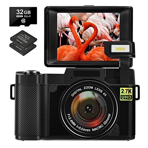 Camara de Fotos Camaras de Fotos Digital 30MP 2.7K Cámara Compacta Full HD con Camara Digital con Pantalla Abatible de 180 Grados con Tarjeta de Memoria de 32GB 2 Baterías