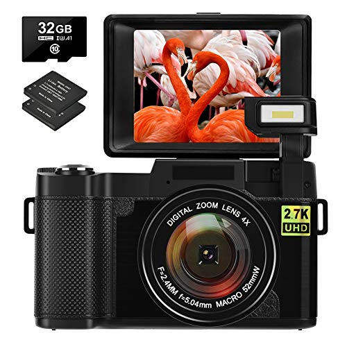 Digitalkamera Fotoapparat Digitalkamera 30MP 2.7K Full HD Kompaktkamera mit 180-Grad-Flip-Screen mit 32 GB Speicherkarte