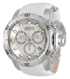Invicta Men's Reserve Venom Stainless Steel Quartz Diving Watch with Leather Calfskin Strap, White, 26 (Model: 33319)