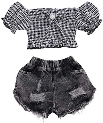 Kid Toddler Baby Girl Summer Outfit Puff Short Sleeve Plaid Tops Denim Ripped Shorts 2 Piece product image