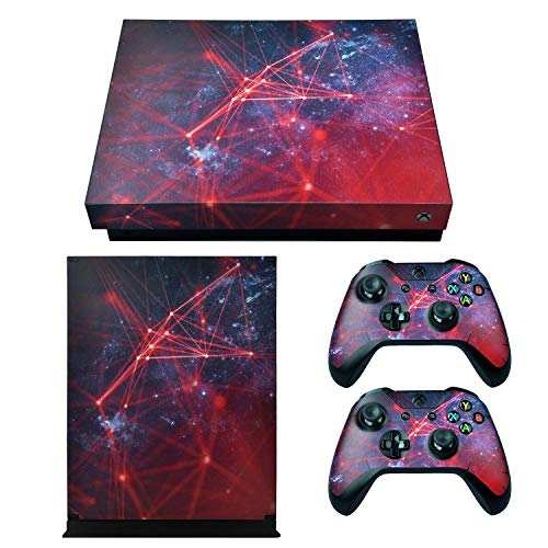 eXtremeRate Full Set Faceplates Skin Stickers for Xbox One X Console Controller with 2 Pcs Home Button Decals - Galaxy