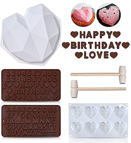 6 Stück Diamant Herz Liebe Form Kuchenform, Silikon Buchstaben und Zahlen Schokoladenformen mit Holzhämmern, nicht klebrige Dessert Keks Mousse Form für Heimküche DIY Backwerkzeuge
