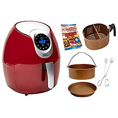 Power Air Fryer XL 3.4 QT Red Deluxe - Turbo Cyclonic Airfryer Include Air-Fryer Accessories Kit With Baking Insert, Pizza Pan, Cooking Tongs And Recipes Book