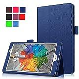 Qiaogle Tableta Case - Funda de PU Cuero Clamshell Carcasa Cover para LG G Pad X 8.0 V521 / LG G Pad 3 8.0 V525 (8 Pulgadas) - KP06 / Dark Azul Estilo