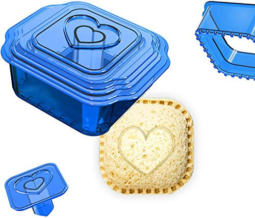 Sandwich Cutter and Sealer, Uncrustables Maker, Bread Sandwich Decruster for Kids Great for Lunchbox and Bento Box, Boys and Girls Kids Lunch(6-in-1) (blue)
