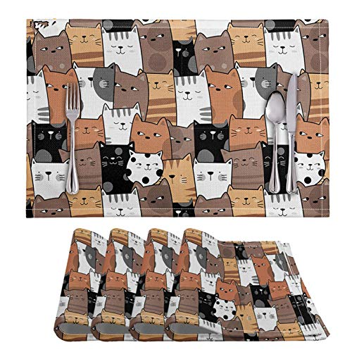 Place Mats| Green HX 4Pcs PVC Modern Heat Resistant Table Mats Fashion Cute Cartoon Cats Prints Rectangular Non-Slip Table Placemat Kitchen-HMP1390D26-Rectangular