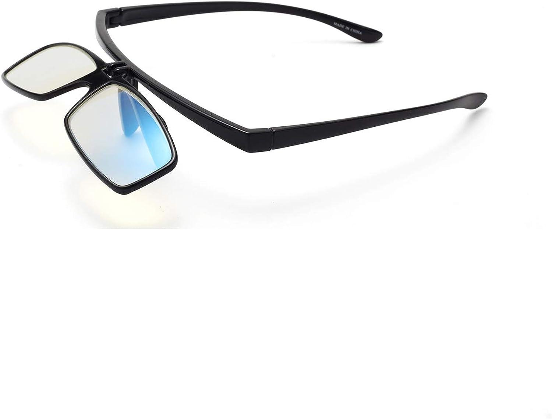 Liansan Flip Up Lens Anti Glare Blue Light PC Computer Reading Glasses for Men and Women Black and Tortoiseshell