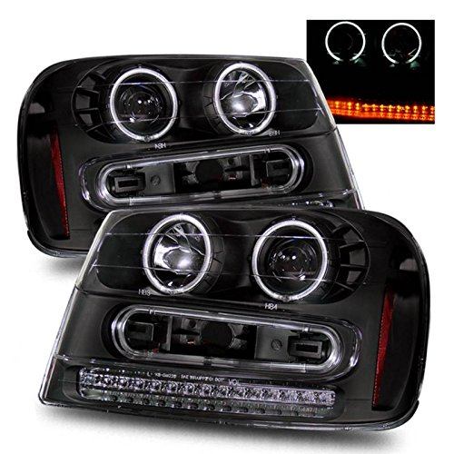 SPPC Black Projector Headlights Assembly Set with CCFL Halo For Chevrolet Trailblazer - (Pair) Drive Left and Passenger Right Side Replacement Headlamp