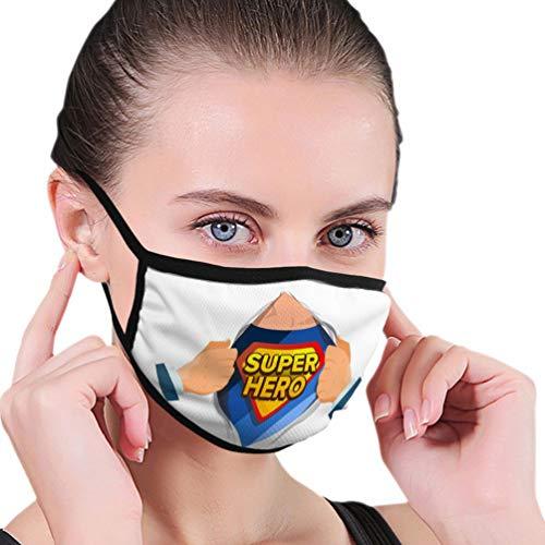 NA 0 Waschbare Wiederverwendbare Sicherheitsmaske Mundmaske für Kinder Teenager Männer Frauen Superheld Zeichen Superheld offen, um Kostüm unter Schild Abzeichen isoliert Cartoon Comic zu enthüllen