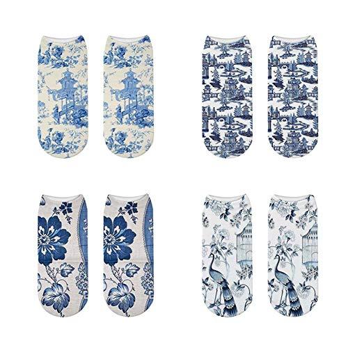 UKKD Calcetines Mujer 4Pc Moda De Algodón Suave Mujeres Calcetines Cortos Patrones De Cerámica Felices Calcetines Animal Kawaii Gracioso Tobillo Calcetín-Mix