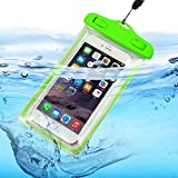 I-Sonite Universal Transparente Teléfono Móvil, Pasaporte, Dinero Submarino Impermeable Piscina, Bolsa de Protección del Océano Touch Responsivo para Huawei P8 Lite (2017), Verde