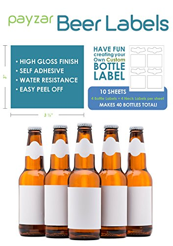 Payzar Beer Labels, Waterproof, Blank to be Personalized, Beer Bottle Labels 40 Pack, Inkjet Compatible