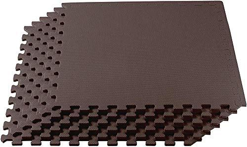 FGHCHMY Puzzle Übungsbodenmatte Eva Interlocking Foam Tiles Übungsausrüstung Matte, Schutzboden Anti-Fatigue für zu Hause oder im Fitnessstudio, 24 in X 24 in, Kaffee, 6 Fliesen