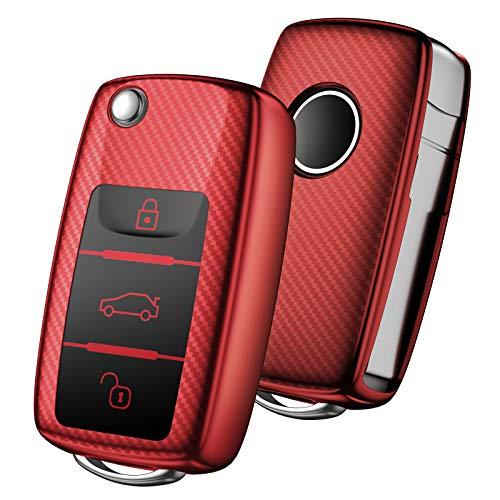 OATSBASF Autoschlüssel Hülle VW,VW Golf Schlüsselbox,Schlüsselhülle Cover für vw Polo Passat Skoda Seat 3-Tasten(Rot-Streifen)