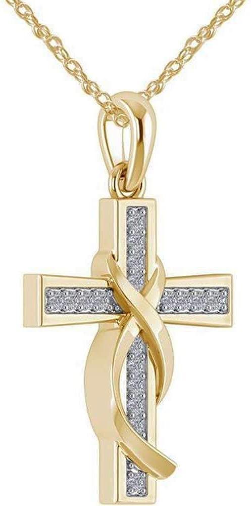 Platinum Plated Cubic Zirconia Infinity Wrap Christian Cross Religious Pendant Necklace