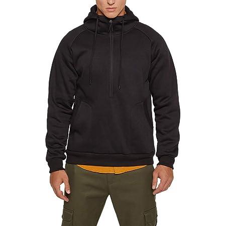 Mens Hoodies Fleece Jumper Pullover Long Sleeve Hooded Sweatshirt Loose Fit Solid Color Hoody Top with Kangaroo Pockets