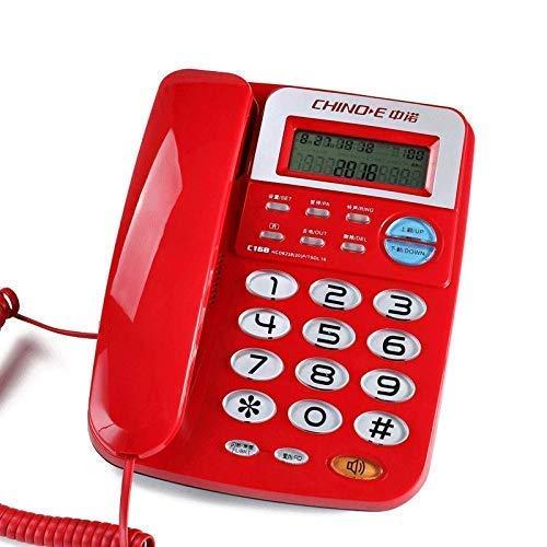 WBDZ Teléfono con Cable de botón Grande Llamadas inalámbricas en el hogar Llamadas a teléfonos fijos Llamadas a teléfonos fijos Teléfono Fijo (Color: Rojo)