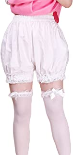 AvaCostume Women's White Cotton Lace Lolita Maid Shorts Bloomers