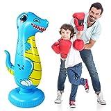 Inflatable Punch Bag for Kids,Dinosaur Boxing Bag,Free Standing Boxing Bag for Immediate Bounce Back Heavy Punching Bag for Practicing Karate,Taekwondo,De-Stress Boxing Bag for Boy/Girl (120CM Blue)