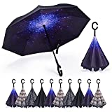 SY COMPACT Inverted Umbrella Windproof Double Layer Reverse Umbrellas with C-Shaped Handle Straight Umbrella for Car Rain(Starry Sky)