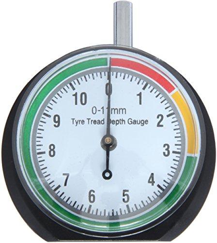"""VERGO Reifenprofilmesser - Tiefenmesser - Profiltiefenmesser - Messbereich 0-11 mm/0-0.43\"""" - Klar 1,7\""""(44mm) Zifferblatt - Einfach zu bedienen - PKW, LKW, SUV, Motorrad -Stoffsack inklusive"""