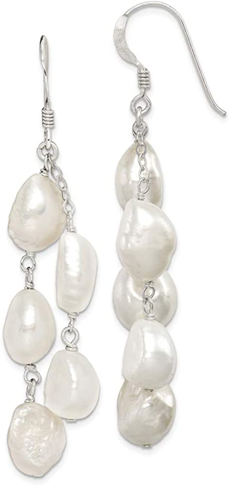 925 Sterling Silver 2 Strand Freshwater Cultured Pearl Drop Dang
