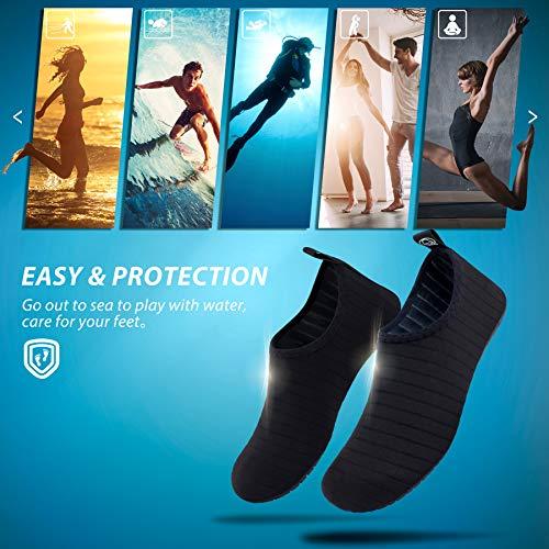 SIMARI Anti Slip Water Shoes for Women Men Summer Outdoor Beach Swim Surf Pool SWS001 Stripe Black 11.5-12.5