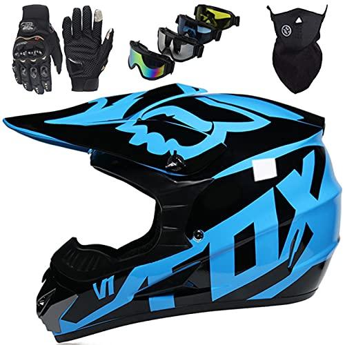 Casco Moto Niños, Casco Cross de Integral para Adultos Casco Motocross para Scooter Chopper Downhill Dirt Quad Bike ATV, Casco de Moto Unisex Set - con Diseño FOX - Azul Brillante Negro