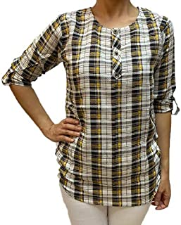 Veronica Long Sleeve Ladies Blouse checkered yellow black white