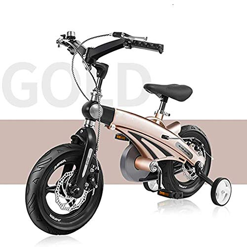 GBX Bike,Scooter,4-5-6-7 Year Old Children's Bicycle 12/14/16 inch Magnesium Alloy Balance Car Double Disc Brake Single Wheel Bicycle,Gold,12 Inches,Gold,12 Inches