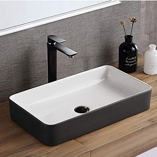 Great Deal! DHUYUN Vessel Sinks Modern Bathroom Rectangle Above Matte Black Vessel Sink for Cabinet ...