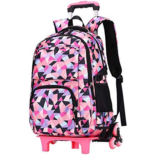 Mochila de 6 Ruedas con Ruedas, Escuela Primaria Estudiante Trolley School Bag Impermeable Oxford Paño Mochila Puede Escalar S Jialele (Color : Black)
