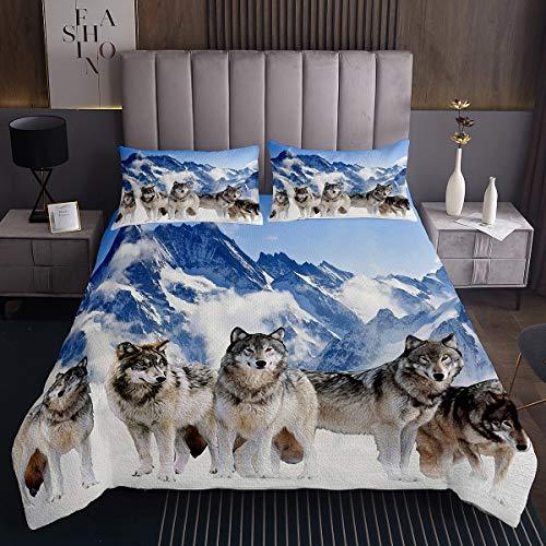 3D Wolf Steppdecke Berglandschaft Bettüberwurf 3D Safari Tier Tagesdecke 220x240cm für Kinder Luxus Wild Wolves Wohndecke Mit 2 Kissenbezug