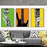 60 * 80Cm * 3Impresiones Modernas De Instrumentos Musicales Poster Wall...