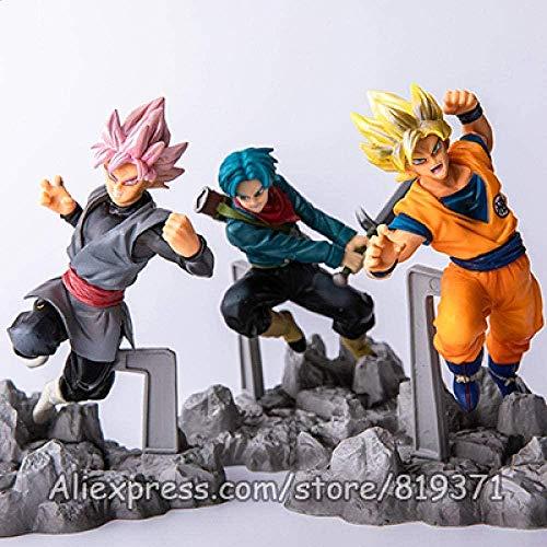wxxsjfj 12 cm Anime Dragon Ball Super Soul X Soul Son Goku Trunks Rose Noir Goku PVC Figurines Modèle Jouets 3 en 1 Dragonball Z-SuperSoul3in1-Supersoul3in1